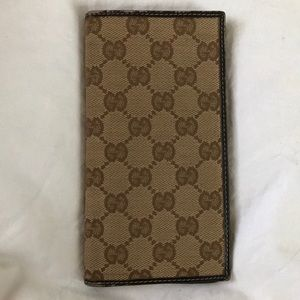 Gucci Monogram Canvas Bifold Checkbook Wallet